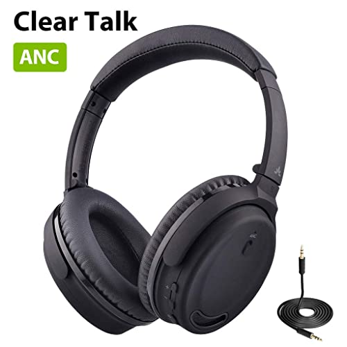 Avantree ANC032 Active Noise Cancelling Headphones Over Ear with Microphone for Home Office, Conference Call, Wireless Wired ANC Sound proof Hi-Fi Stereo Bluetooth Headset with Mic for TV PC Computer