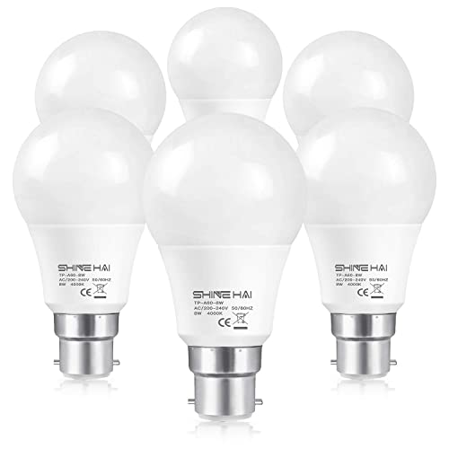 (6 Pack) SHINE HAI B22 LED Bayonet Light Bulbs 60W Equivalent,8W LED B22 BC Bulb,A60 4000K Daylight/Cool White,Frosted Globe GLS Bulb,Ultra Bright 800LM,Non-Dimmable,Energy Saving Light Bulbs
