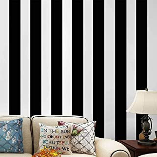 PoetryHome Self Adhesive Vinyl White Black Stripe Contact Paper Peel and Stick Wallpaper for Walls Bedroom Kitchen Bathroom 17.7x117 Inches