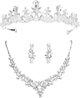 S SNUOY Bridal Wedding Jewelry Sets Pearl Tiara Necklace and Earrings Sets for Women