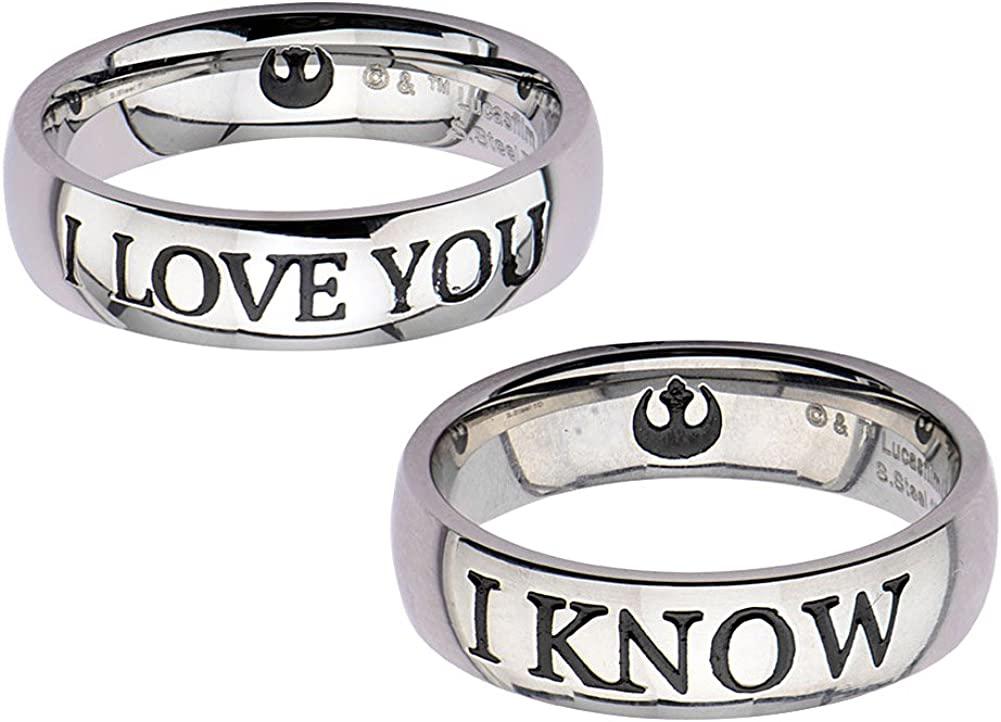 """24. Star Wars """"I Love You"""" and """"I Know"""" Couples Ring Set"""
