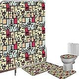 Juego de cortinas baño Accesorios baño alfombras Espacio Alfombrilla baño Alfombra contorno Cubierta del inodoro Diseño de cuadrícula geométrica con rayas,puntos,fondo retro,fantástico robot,patrón de