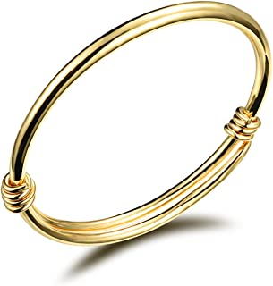 Children Jewelry 18k Gold Plated Bangle Bracelet for Toddlers Gift Safe Easy Adjustable 4.7