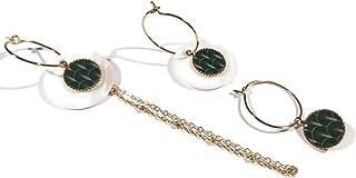 Mini orecchini a cerchio fan art deco Giappone verde oro intercambiabile ottone dorato oro fino 24K resina regali di natal...