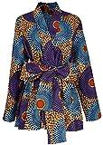 Shenbolen Women African Traditional Batik Print Long Sleeve Shirt Dashiki Casual Cotton Shirt (XXX-Large, Multicolor)