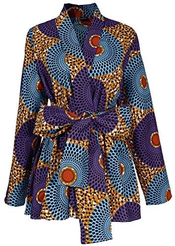 Shenbolen Women African Traditional Batik Print Long Sleeve Shirt Dashiki Casual Cotton Shirt (Small, Multicolor)