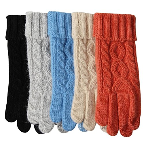 Womens Texting Touchscreen Winter Cold Weather Super Warm Cozy Wool Knit Thick Fleece Lined Gloves Mittens (One Size, Grey (2018 New))