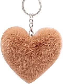 Sanwooden Cute Keychain Ornament Fluffy Love Heart Keychain Key Ring Pendant Handbag Bag Faux Fur Wallet Decor Girl Fashion Accessories