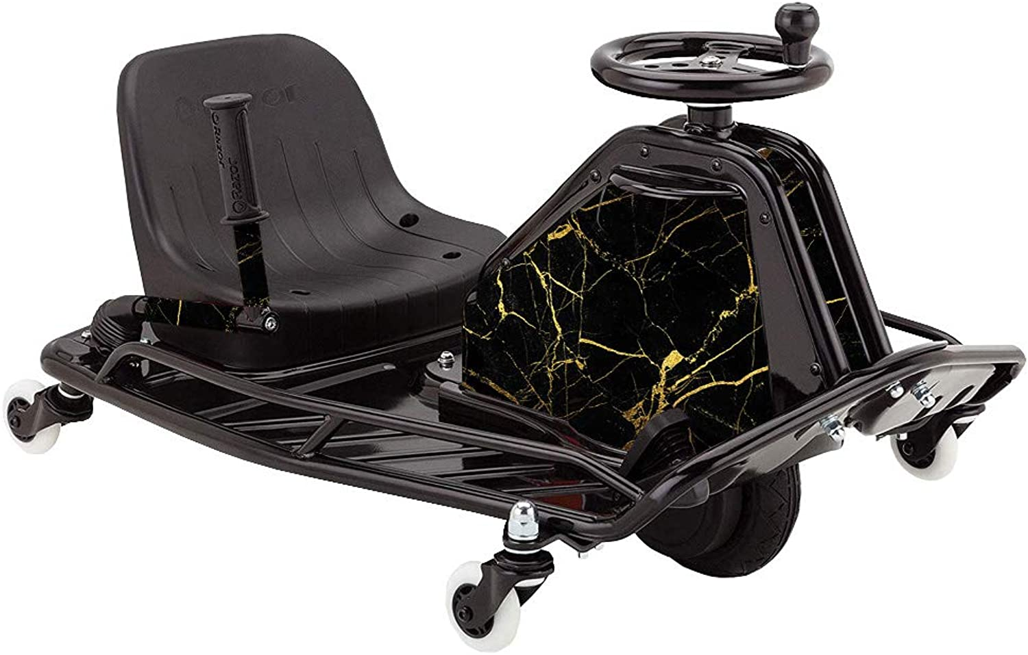 MightySkins Skin for Razor Crazy Cart DLX  Black gold Marble   Predective, Durable, and Unique Vinyl Decal wrap Cover   Easy to Apply, Remove, and Change Styles   Made in The USA