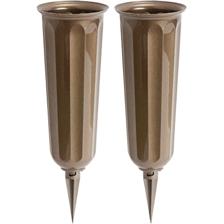 2 Pack White 9.75 in Plastic Cemetery Vases