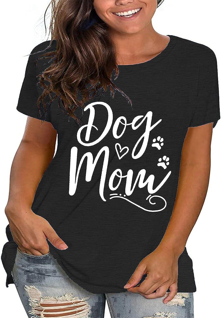 Beocut Plus Size Dog Mom Shirts Women Graphic Tee Short Sleeve Tshirt Casual Summer Tunic Tops
