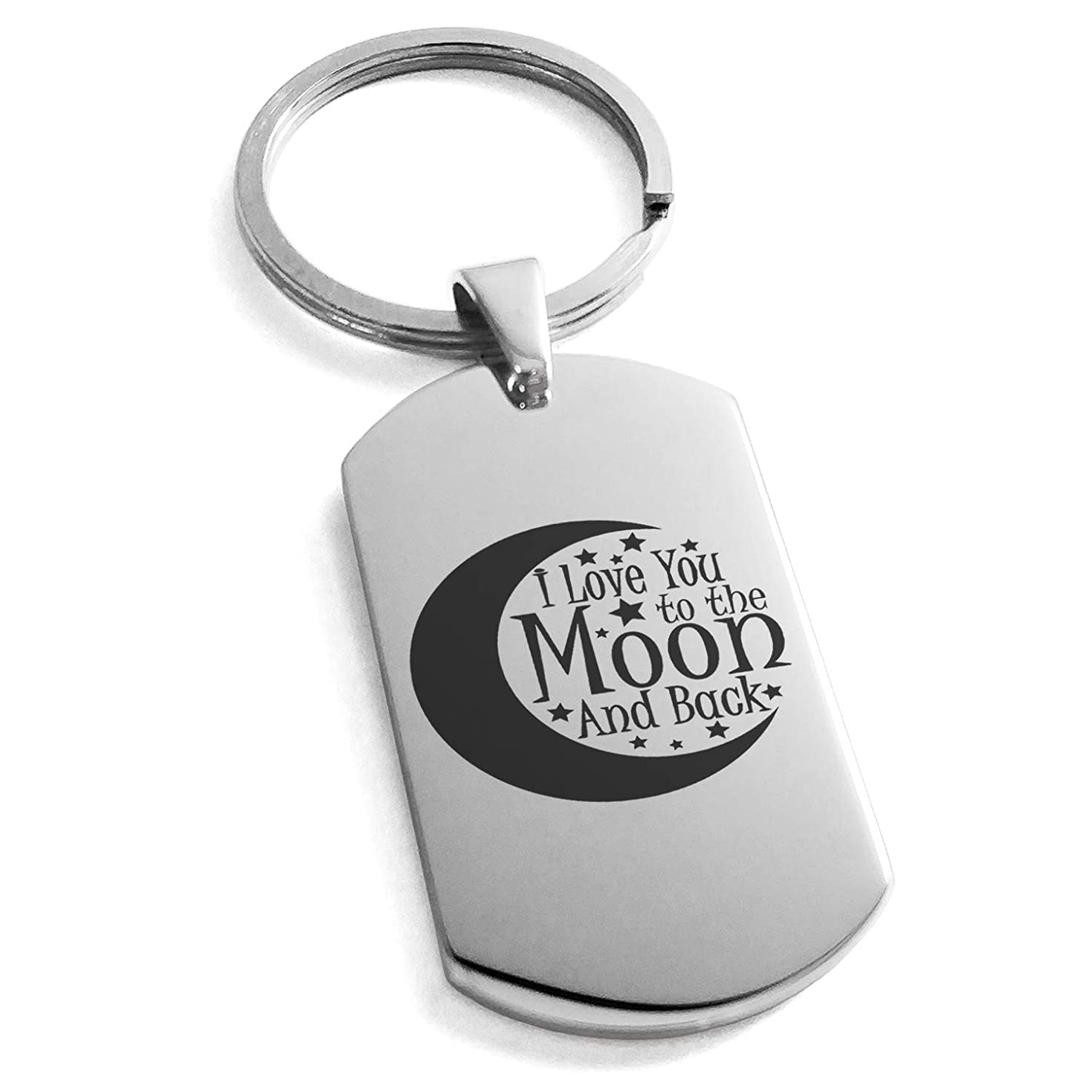 探検心理学ハンサムTioneer ステンレススチール 三日月 I Love You to The Moon Back 刻印 ドッグタグ キーホルダー キーリング