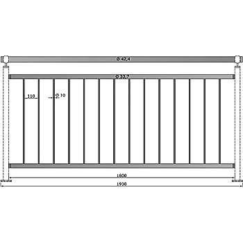 Gel/änder senkrechte Streben Balkon Terrasse Br/üstung 2050 mm 1000 mm