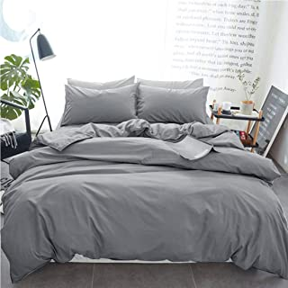 INGALIK Bedding 3 Piece Duvet Cover Set Queen Size with Zipper Closure Ultra Soft Breathable 100% Washed Microfiber Hotel Luxury Solid Color Collection 3pc (1 Duvet Cover + 2 Pillow Shams) Light Grey