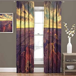 GUUVOR Canyon for Bedroom Blackout Curtains Retro Style Mountains View Blackout Curtains for The Living Room W84 x L108 Inch