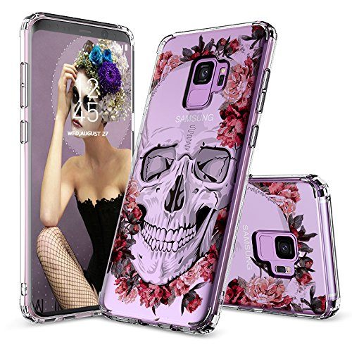 Galaxy S9 Case, Clear Galaxy S9 Case, MOSNOVO Cool Floral Skull Flower Clear Design Printed Transparent Slim Plastic Hard Back Cover with TPU Bumper Protective Case for Samsung Galaxy S9 (2018)