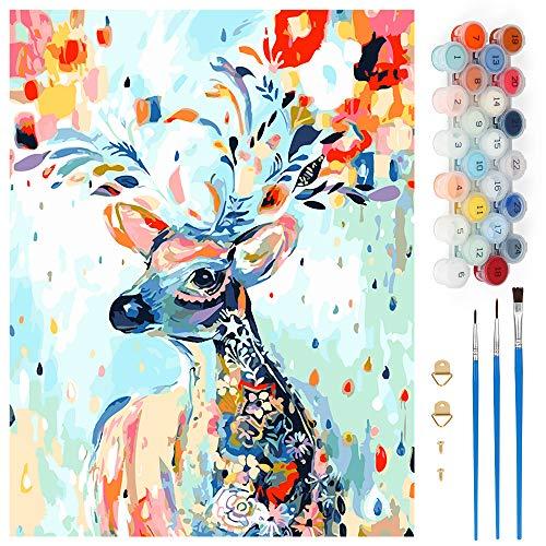 Pintar por Numeros, Pintura por Números Ciervo de Flor de Color Kits, Cuadro Pintar con Numeros para Adultos/Niños, Pintar por Números Decoraciones para el Hogar (Sin Marco, 40x50CM)