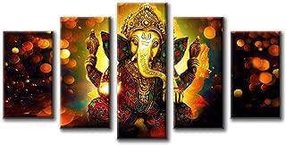 DJSYLIFE Hindu God Ganesha Wall Art Canvas Printed for Living Room Decorative Painting Modern Home Decor 5pcs HD Print Lord Ganesha Elephant Picture Art Wall Framed Ready to Hang (40