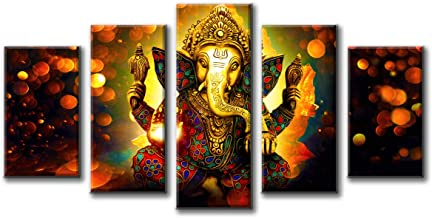 DJSYLIFE Hindu God Ganesha Wall Art Canvas Printed for Living Room Decorative Painting Modern Home Decor 5pcs HD Print Lord Ganesha Elephant Picture Art Wall Framed Ready to Hang (40