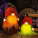 Twinkle Star 2 Pack Halloween Decorations Lighted Gnomes, Handmade Table Plush Pumpkin Hat Swedish Gnome Tomte Light Up Body, Tabletop Elf Figurine Gifts Thanksgiving Festival Ornament