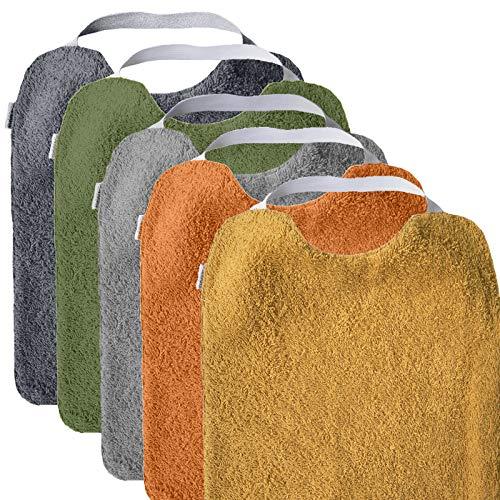 MIMUSELINA Pack 5 BABEROS RIZO GUARDERÍA con goma para fomentar AUTONOMÍA. Lavables, interior IMPERMEABLE y exterior RIZO ABSORBENTE máxima calidad. Babero goma cuello (UNISEX)