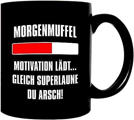 Preisvergleich für Kaffeetasse schwarz 300ml große Tasse bedruckt mit Spruch Morgenmuffel