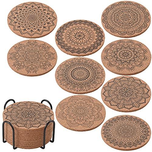 ionEgg Posavasos de corcho para bebidas reutilizables absorbentes para bebidas frías o calientes, paquete de 9 con soporte de metal