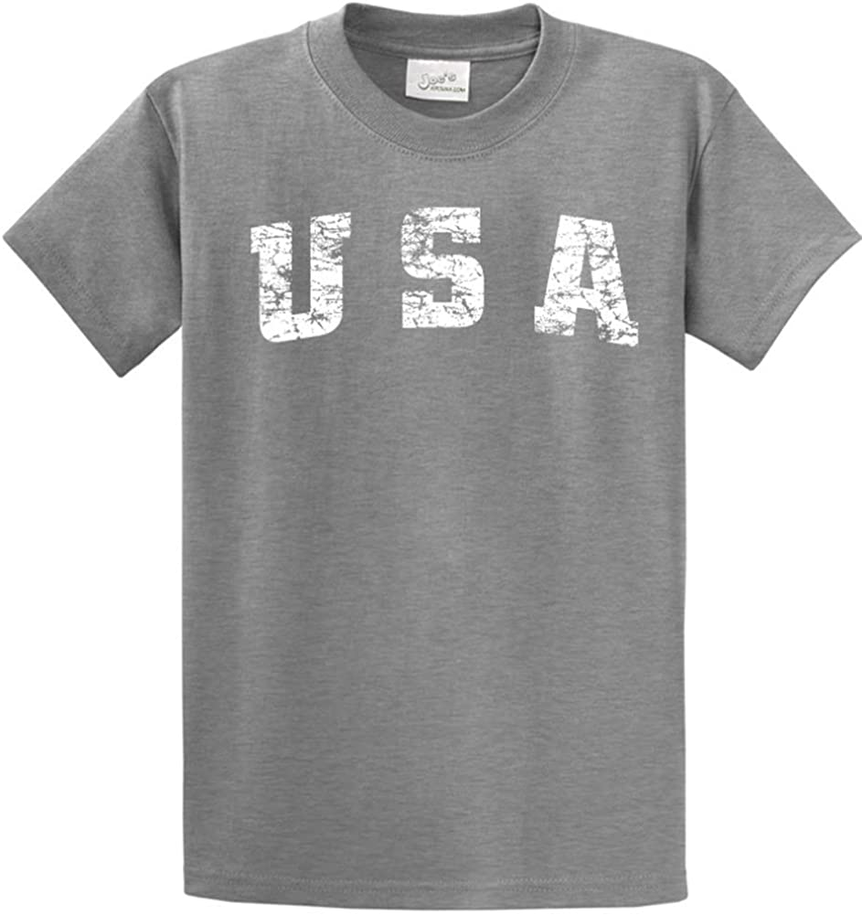 Joe's USA -Tall Vintage USA Logo Tee T-Shirts in Size Large Tall - LT Athletic Heather