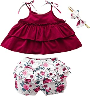 Weixinbuy Kid Baby Girls Ruffled Camisole Shirts Tops + Elastic Shorts Clothes Set Summer Outfits 1-6 Years