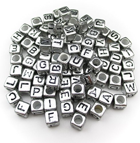 """ALL in ONE 1000pcs Mixed Acrylic Letter/Alphabet """"A-Z""""Cube Beads for DIY Craft (Silver with Black Letter)"""