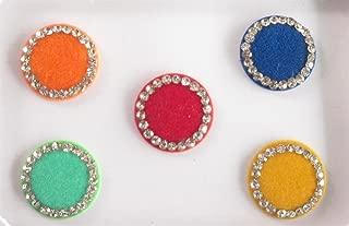 Wedding Big Round Colored Bindis Studded With Rhinestones/Indian India Bindis/Bindi Sticker/ Bindi Jewels/Face Jewels/Body Art/Bindi Usa