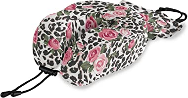ALAZA Memory Foam Travel Pillow Pink Rose Flower Leopard Print Neck Pillow for Airplane Travel Kit with Snap Clip, Soft Comfo