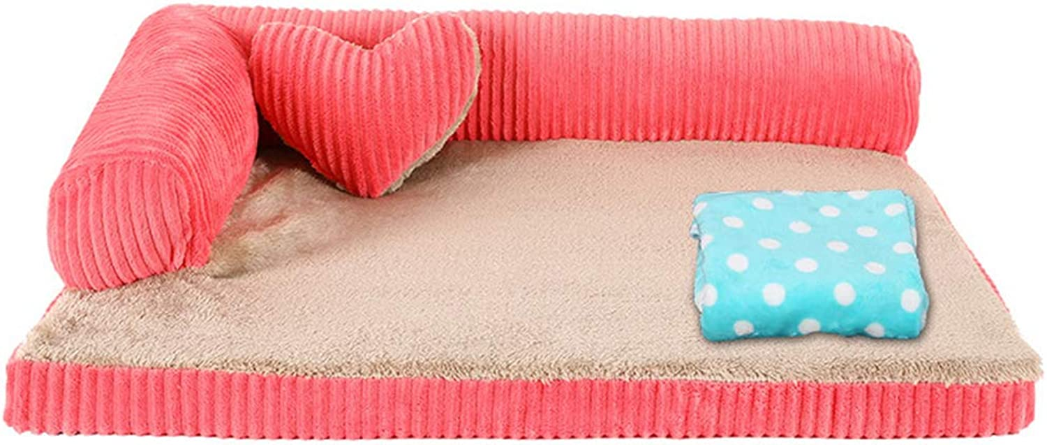 Qz Indestructible Dog Sofa for Medium Dogs Cat Pet, Durable Cute Puppy Kennel Beds for Small Doggie Doggy (color   PINK, Size   S 55×45×15cm)