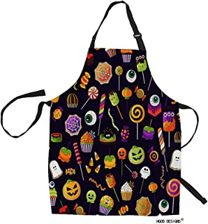 HGOD DESIGNS Halloween Sweets Apron,Funny Halloween Candy Corn Pumpkins and Eyeballs Pattern Funny Kitchen Aprons 100% Polyester Adjustable Waist Ties Bib Apront for Baking,Cooking 27