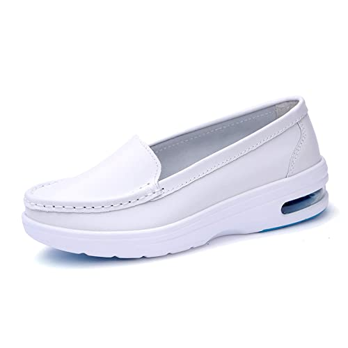 TRULAND Womens Leather Nurse Shoes All White/Black Comfortable Lightweight Air Cushion Slip Resistant Work