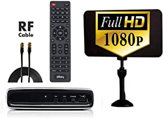 Exuby Digital Converter Box for TV, Flat Antenna & RF Cord for Recording & Watching Full HD Digital Channels for Free (Instant & Scheduled Recording, 1080P, HDMI Out, 7 Day Program Guide & LCD Screen)