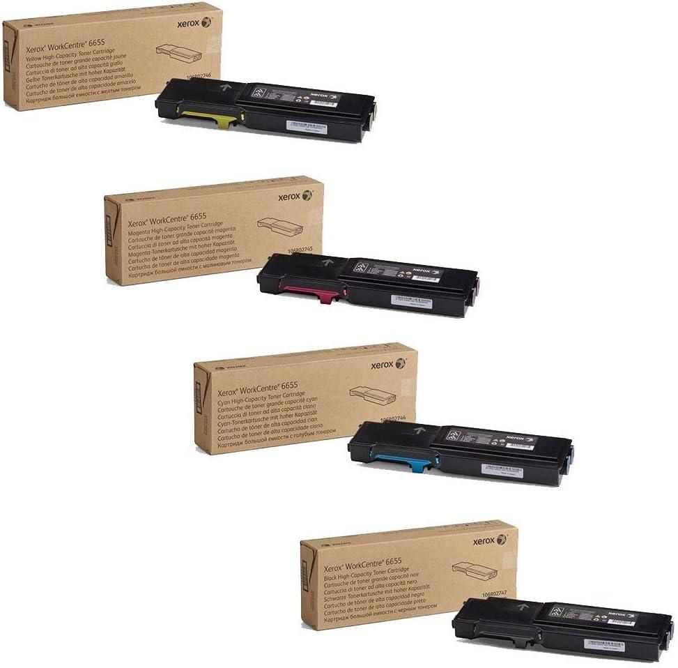 Xerox 106R02744, 106R02745, 106R02746, 106R02747 High Yield Toner Cartridge Set - WorkCentre 6655