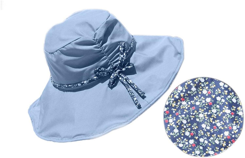 Summer Small Floral Large Brimmed Bowknot Sun Visor Beach Hat