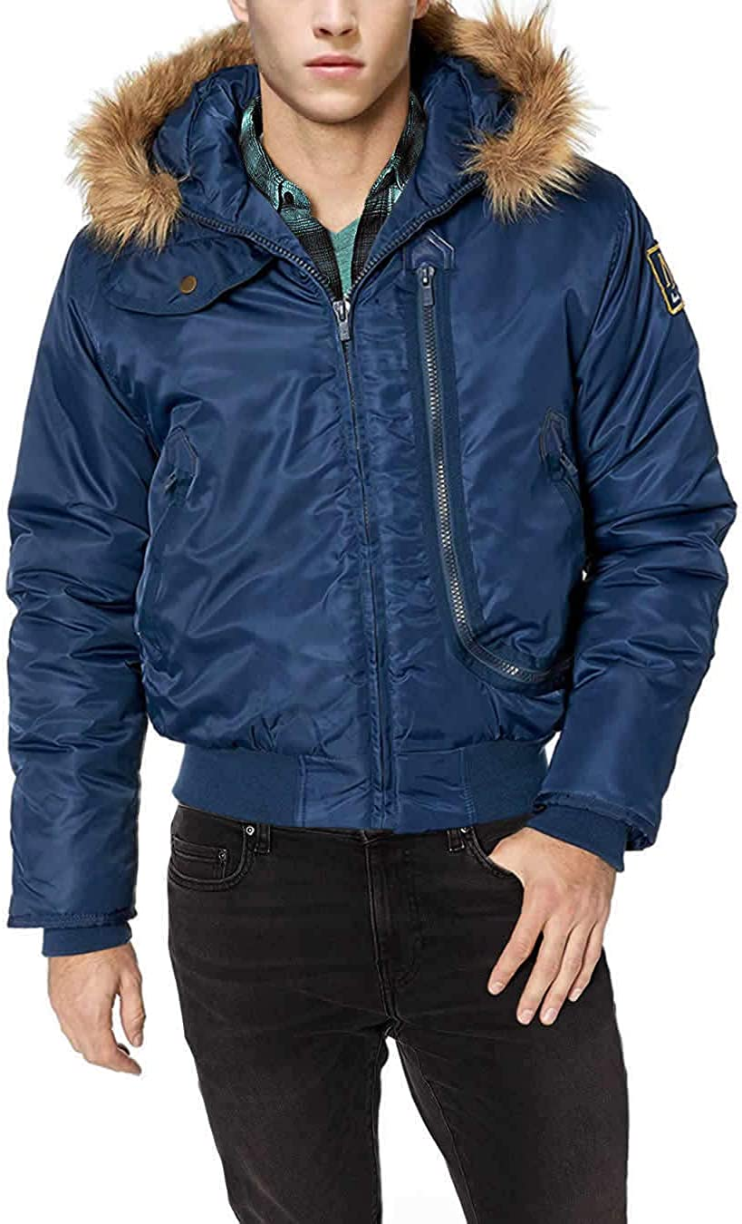 LN LUCIANO Soldering NATAZZI Mens Thermal Padded Limited Special Price Bomber Jacket Hood Flight