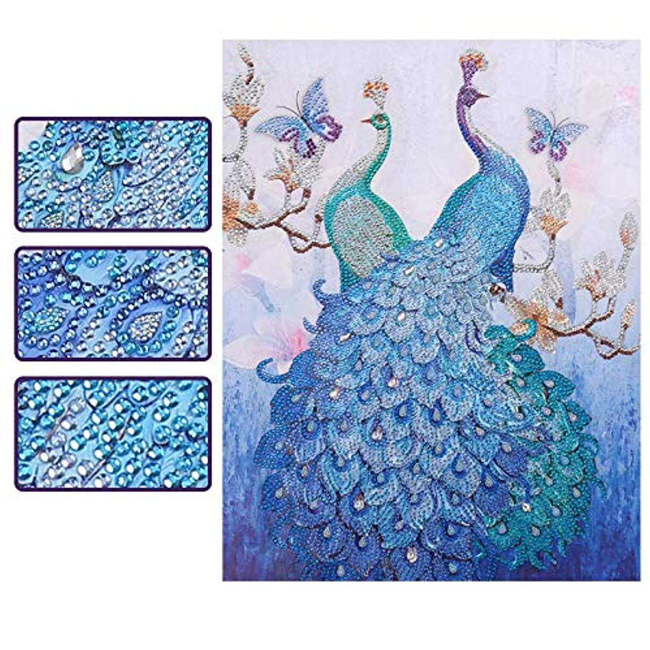 SuperDecor DIY 5D Diamond Painting Kits Special Shaped Rhinestones Blue Peacock Butterfly Pattern Diamond Embroidery Paintings Art by Number Kits for Home Wall Decor 16x20Inch