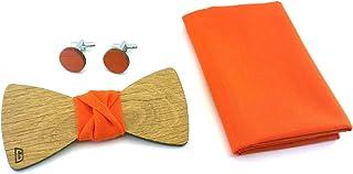 GIGETTO Set Papillon gemelli in legno di rovere, fazzoletto da taschino arancione Made in Italy