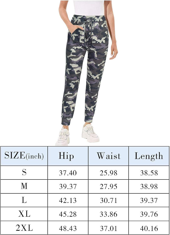 LASLULU Womens Athletic Jogger Sweatpants Drawstrings Comfy Stretchy Camouflage Workout Yoga Track Pants Pockets