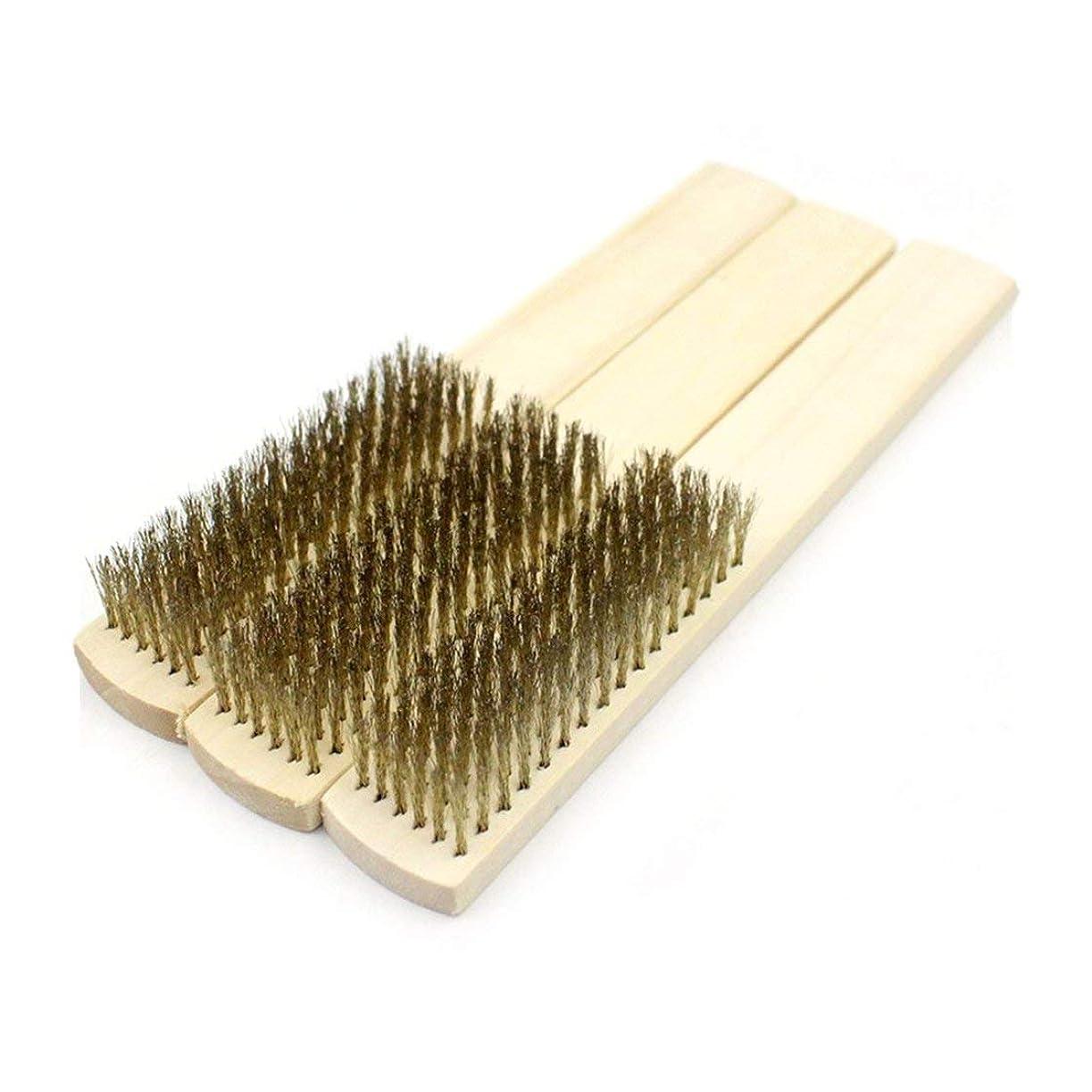単調なディスコ対象真鍮剛毛鋼線ブラシ銅ブラシ傷表面内部研磨研削金属機械クリーニングウッドハンドル(黄色) (Rustle666)
