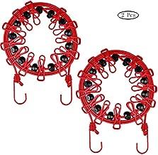 nuzamas 12/Pegs tendedero de pinzas port/átil ampliable ajustable retr/áctil tendedero para Camping viaje ropa lavander/ía secado al aire libre y uso en interiores color rojo