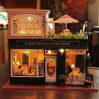 FSEARRT ドールハウス 手作りキットセット ミニチュア LEDライト オルゴール付き ドールハウスキット リビング インテリア プレゼント 癒しグッズ 木製模型(フレンチカフェ)