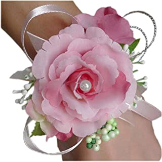Arlai Wrist Corsage Wristband Roses Wrist Corsage for Prom, Party, Wedding Pink