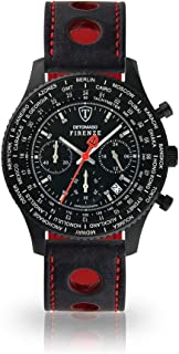 DETOMASO Firenze Mens Watch Chronograph Analogue Quartz Black Racing Leather Strap Black Dial SL1624C-BK1-836