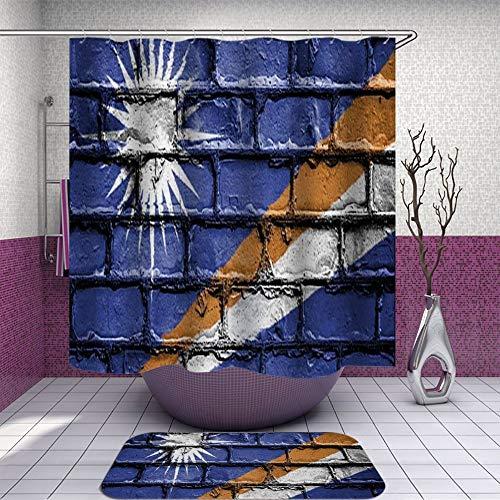 SARA NELL Shower Curtain and Rug Set for Bathroom Marshall Islands Flag Shower Curtain Fabric Bathroom Curtain Set with 12 Hooks - 72 x 72 Inch
