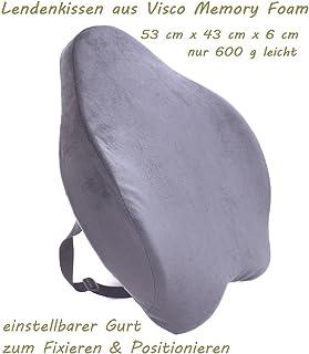Cojín lumbar para el coche o la oficina, de espuma viscoelástica, ortopédico, en color negro, incluye correa ajustable