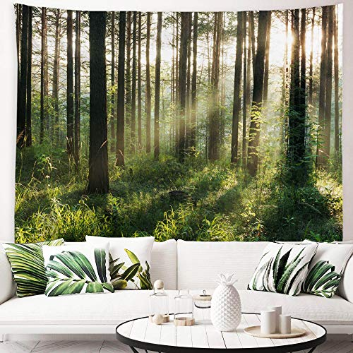 ORTIGIA Tapiz para colgar en la pared, diseño del bosque del sol, paisaje natural, poliéster, decoración de pared para dormitorio y sala de estar con clavos, 150 cm x 200 cm